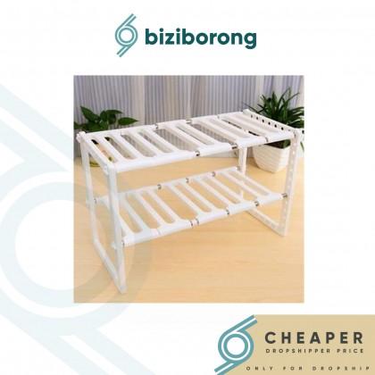Biziborong 2 Tiers Adjustable Kitchen Storage Rack Organizer - R739