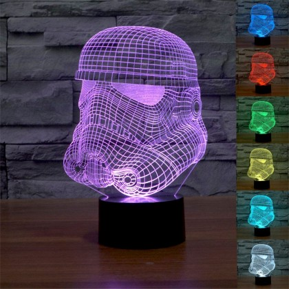 Biziborong Iron Man Home Deco Hologram 7 Colours 3D Led Light Remote Control - R448