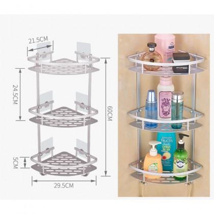 3 Tiers Corner shelf Aerospace Aluminium Bathroom Wall Rack - R475