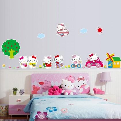 Biziborong Hello Kitty  Cartoon Diy Wall Stickers Kids Room Deco Wallpaper  R488