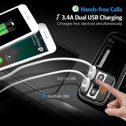 Biziborong Bluetooth Car Adapter Music Player Phone Charger Hands free  R737