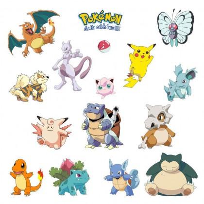 Biziborong  Pokemon Wall Stickers Decals Reusable Washable Set - R413