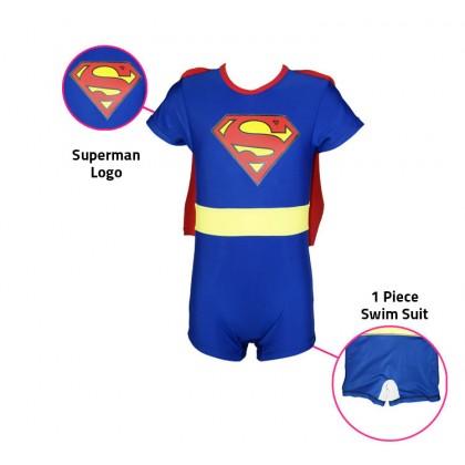 1 Piece Biziborong Short Sleeve Superman Kids Boy Girl Swimming Swim Suit - R1013