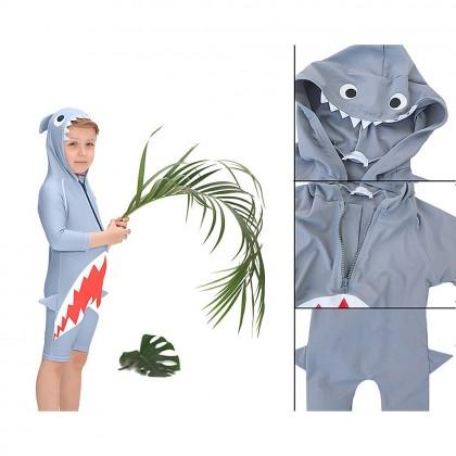Biziborong 1 Piece Long Sleeve  Cute Shark Kids Boy Girl Swimming Suit - R1014