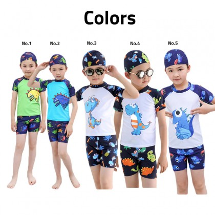 2 Piece Biziborong Short Sleeve Kids Boy Cartoon Swimming Swim Suit - R1015