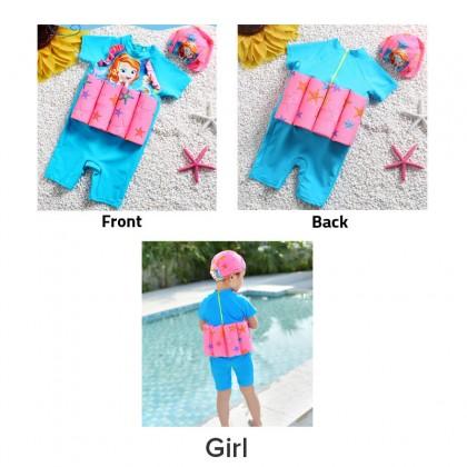 Biziborong 1 Piece Short Sleeve Kids Boy Girl Float Swimming Suit with Cap - R1016