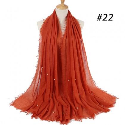 Biziborong Muslimah Hijab Tudung Cotton Crinkle Bawal Long Scarf Shawl - RA15
