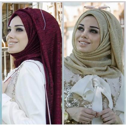 Biziborong Muslimah Hijab Tudung Glitters Arabic Bawal Long Scarf Shawl Fringe - RA21