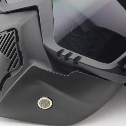 Biziborong Detachable Motorcycle Goggles Mask Sunglasses Protect Padding Helmet - RA85
