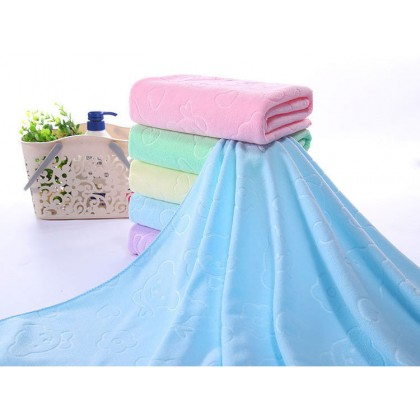 Biziborong 70x140cm Microfiber Plain Cartoon Bath Towel Shower Tuala - RB13