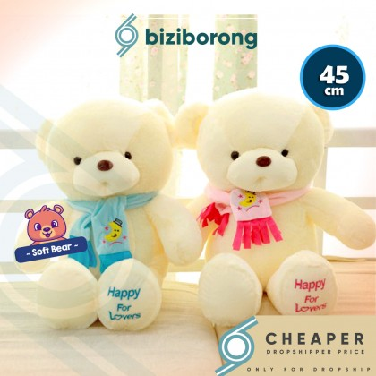 Biziborong 45cm Teddy Bear Soft Plush Stuffed Toy Stuff Cushion Doll Birthday Valentine Gift Pillow Kids - RE34