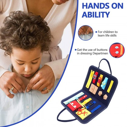 Biziborong Kids Montessori Eductional Early Learning Basic Living Skill Button Belt Knot Toy - RE06