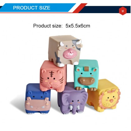 Biziborong Baby Kids Newborn Early Learning Toy Soft Silicone Chewable Blocks Animal Water Toy Permainan Baby - RE44