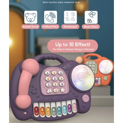 Biziborong Cute Shape Stimulation Baby Kids Phone Learning Educational Toy Tapping Drum Permainan Kanak Kanak - RE48