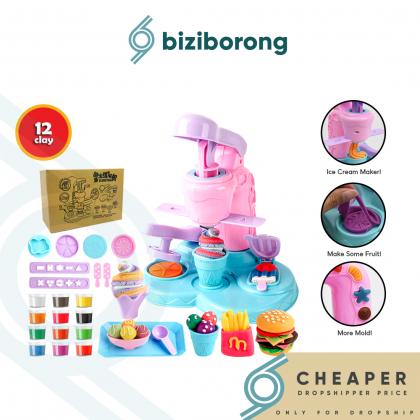 Biziborong Macaron Color Kids Pretend Play Ice Cream Maker Plasticine Toy Clay Permainan Masak Masak Kanak Kanak - RE50