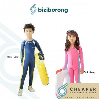 Biziborong Long Sleeve 1 Piece Kids Boy Girl Swimming Suit Shirt Pant UPF Baju Renang Kanak Kanak - RC76