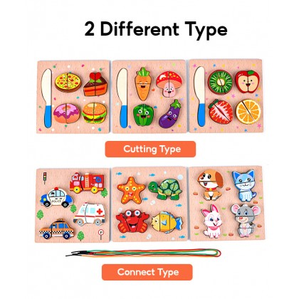 Biziborong Kids Baby Toddler Animal Fruit Jigsaw Puzzle Cutting Rope Connect Wooden Educational Learning Toys - RC99