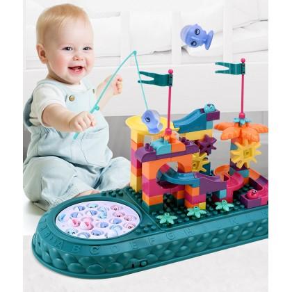 Biziborong 2 in 1 Kids Spinning Fish Fishing Toy with Mega Blocks Marble Run Race Track Building Set Permainan Kanak - RE59