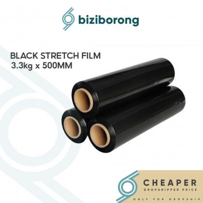 Biziborong [3.3kg] Black Stretch Film 50cm 500mm Package Wrapper Wrapping (3.3kg x 1 Roll) - RF03
