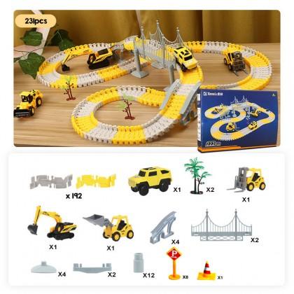 Biziborong Construction Race Tracks for Kids Boys Toys Car Toy Flexible Track Playset DIY Railway - RF92