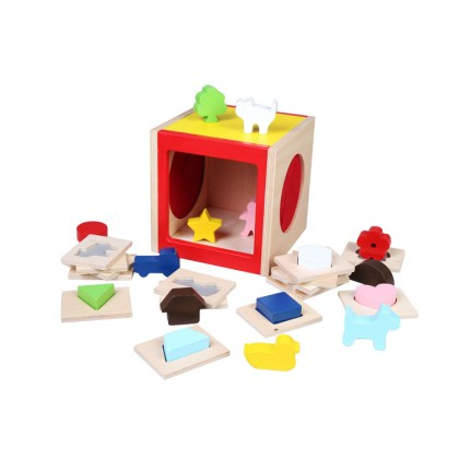 Biziborong Educational Wooden Toy Montessori Touch Guess Geometric Shape Puzzle Box Kids Toy Early Learning - RG05