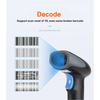 Biziborong Handheld Barcode Scanner Reader Scan 1D Wired USB Cable - RF04