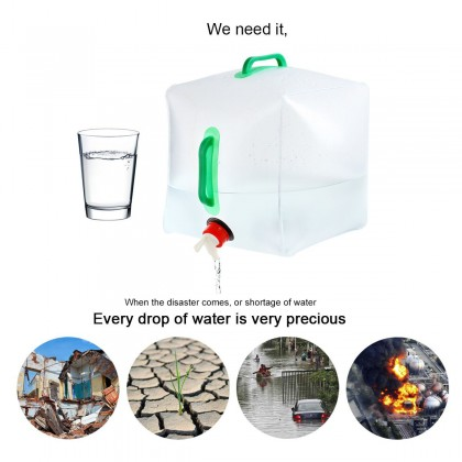 Biziborong 20L Collapsible Water Container Outdoor Water Bucket Camping Foldable Emergency Bekas Simpanan Air - RB29