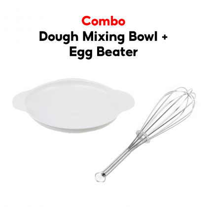 Biziborong Handheld Stainless Steel Egg Beaters Whisk Mixer Eggbeater Cooking Tool Dough Mixing Bowl Plate