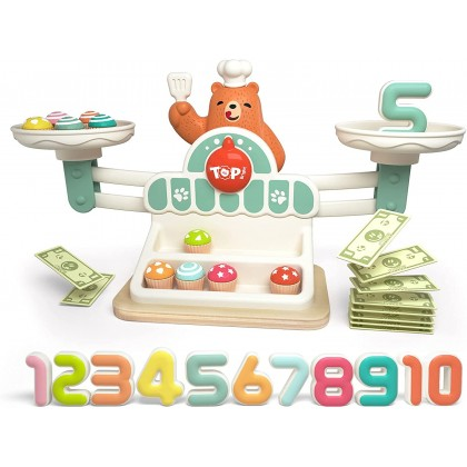 Biziborong Balance Scale Math Game Number Counting Pretend Play Shop Toys for Kids - RC54 Scale