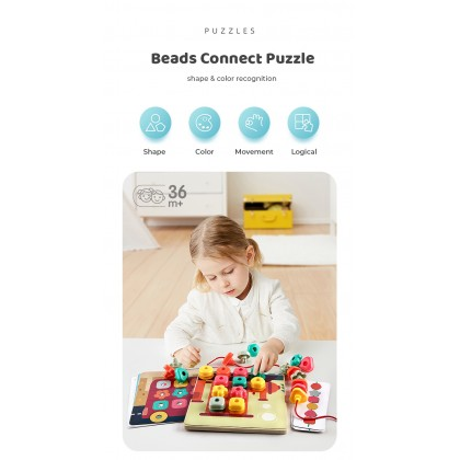 Biziborong 3D Puzzles Mosaic Pegboard Shape Color Early Learning Pretend Play Toys for Kids - RC54 Shape