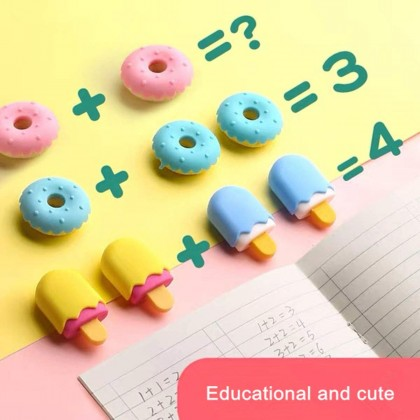 Biziborong 4pcs Candy Lollipop Donut Ice Cream Popsicle Colorful Eraser Kids School Writing Stationery Rubber - AT004