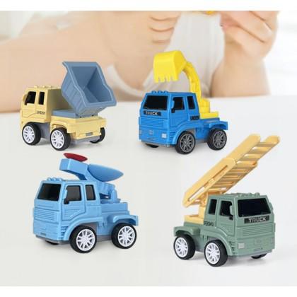 Biziborong Macaron Kids Boy Toy Car Excavator Construction Truck Toys Driller Road Roller Bulldozer Pretend Play - TB002